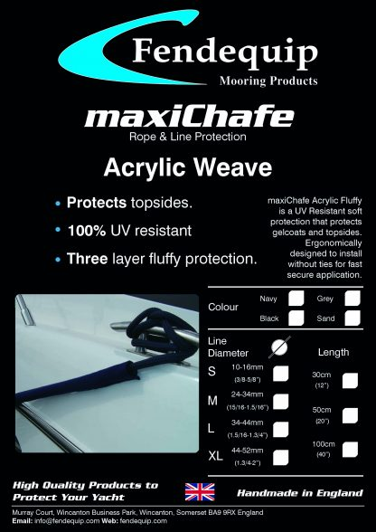 maxiChafe, Fendequip, Acrylic Weave, Yacht, Super Yacht, Boat, Ship, UK, UK Manufactured